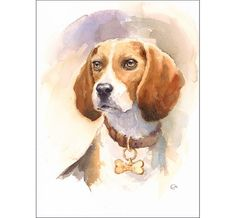 Watercolor Beagle - Original Painting 9x12 inches Hound Dog Portrait Pets Animals