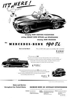 Mercedes Benz #190SL ad. Price back then: $ 3733.50.  If you like Mercedes Benz 190 SL's please visit us on Facebook at https://www.facebook.com/190SL