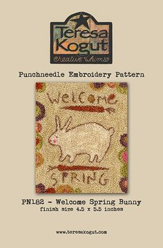Welcome Spring Bunny punchneedle pattern by Teresa Kogut. Check your local needlework store! #punchneedle #needlework