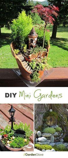 Cómo hacer jardines en miniatura, con diversos adornos como bancos, farolas, castillos...