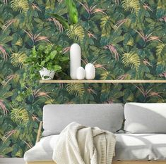 The home of bold & beautiful wallpaper in Australia. Painted Leaves, Hand Painted, Magnolia Wallpaper, Versace Home, Tropical Wallpaper, Accent Colors, Blush Pink, Living Room Decor, Throw Pillows