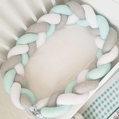 Knot baby bumper Grey white mint