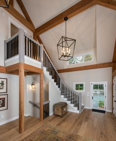 Staircase in Great Room in the Eastman House, a small post and beam home. visit to see more including floor plans.
