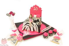 Maddie's sleepover zebra print cake.  The cake included cake pops, cookies and cupcakes all zebra print themed!  Happy Birthday Maddie!