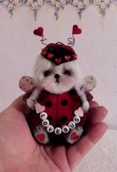 Maltese Lady Bug Valentine hanging or sitting ornament  OOAK  * CTD*  furred