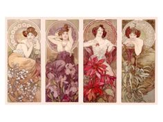 Expression on Emerald, far right.  Precious Stones and Flowers Giclee Print by Alphonse Mucha at Art.com