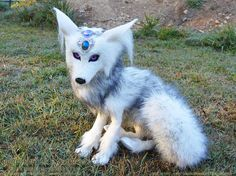 Arctic Fox Poseable Sculpture Handmade OOAK Life Size fantasy plush witch familiar pet