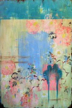 "Kathe Fraga Art, www.kathefraga.com Kathe's paintings are inspired by the romance of vintage French wallpapers and Chinoiserie with a modern twist. ""Morning Light"", 36x24 on frescoed canvas."