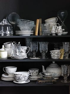 Dark cabinets and gorgeous gorgeous vintage dishes