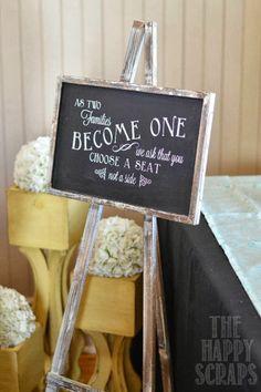 Chalkboard signage for the wedding reception