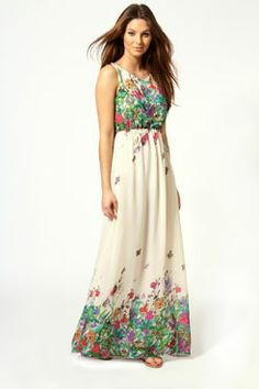 Amie Floral Butterfly Print Bow Back Maxi Dress at boohoo.com