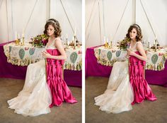 FUCHSIA AND GOLD SUMMERTIME WEDDING INSPIRATION: Matthews Winery Early Summer Styled Wedding Shoot from Event Success. Venue: Matthews Winery; Photography: Musee Photography; Florals: Fena Flowers; Cake: Crumbs Cakery; Rentals: Cort Party Rentals; Linens: La Tavola Linens; Invitations: Paper Fling; Dress: Dream Dresses by PMN; Hair & Makeup: Luxury Makeup & Hair; Paper Backdrop: The  Bloom Room; Video: Best Made Videos #woodinvillewedding #fuchiawedding #winerywedding #goldwedding