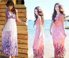 D2081 Spring New 2014 Bohemian Casual Beach Summer Women Dress Free Shipping Hot Sell Fashion Deep V-Neck Sexy Lady Long Dress $16.39