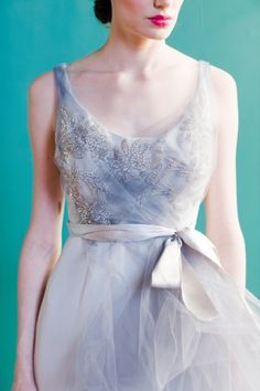 Blush and Grey Wedding Gown  I love a wedding dress in color