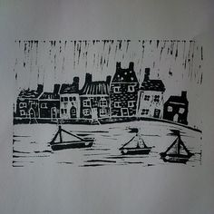 An attempt at lino printing a harbour scene. #sewnbycollette