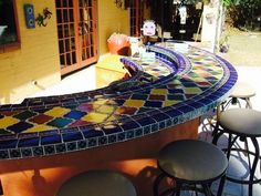 Bar set up for outdoor entertaining, and awesome mexican tile barter