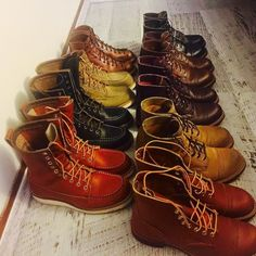 """redwingshoestoreamsterdam: """"Our dear friend Nuno is getting ready for the weekend with his collection! He has some unique pairs like the limited Red Wing Shoes 2996 6"""" Lineman in Cigar Retan and the 2015 Huntsman in Black Klondike! Of both styles we..."""