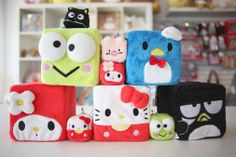 Sanrio plush cubes, available in Hello Kitty, My Melody, Tuxedo Sam, Batz Maru, and Kerroppi