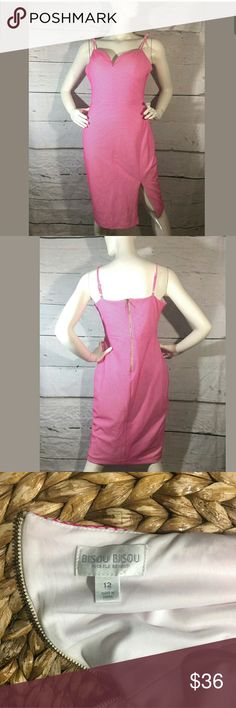 Bisou Bisou Michele Bohbot Scale Sweetheart Dress Bisou Bisou Michele Bohbot Scale Sweetheart Dress Pink White 12  Excellent used condition.   97% Polyester 3% Spandex.   19 inches pit to pit.  32 inch waist.  44 inches long.    LB Bisou Bisou Dresses