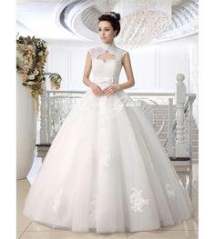 White Ball Gown Keyhole Neck Applique Floor-Length Wedding Dress For Bride  $389.79