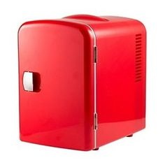 Red Mini Fridge Portable College Dorm Hot Cold Cans Compact Home Office Car
