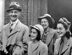 Anne Frank, her Father Otto and sister Margot in 1941 on their way to Miep Gies marriage.