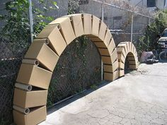 Arches with cardboard boxes:
