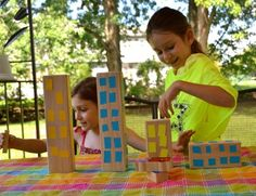 Masking tape + Unit Blocks + imagination = great weekend activity (from the blog)