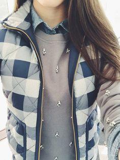 Cute sweatshirt and layering.