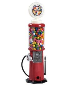 """Gas Pump Vending Machine by Candy Crate. $49.95. Dispenses small gumballs (.62"""" or smaller), candy, or nuts. All metal base, lid, and coin mechanism. Includes instructions for """"free spin"""" to work without coins. ABS plastic cylinder globe. Accepts any coins (quarters, dimes, nickels, pennies). The original Carousel Gas Pump Gumball Machine is a mini replica of the old fashioned gravity-fed gas pump machines used in the 1940's and 1950's. At 21"""" tall, this gumball machine is great..."""