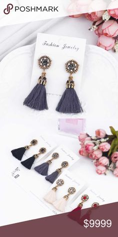 Gray Antique Jeweled Tassel Earrings Gray Antique Jeweled Tassel Earrings  More colors available! (see closet) Bundle and save! golden threads Jewelry Earrings