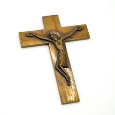 Art Deco Wall Crucifix H15cm, Handcrafted Polished Bronze Cross Jesus Christ Christian, Religious, Catholic Spiritual Interior Decoration Catholic Jewelry, Catholic Art, Future Shop, Deco Wall, Travel Icon, Jesus On The Cross, Spiritual Gifts, Art Deco Design, Crucifix