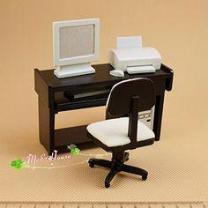 1:12 Dollhouse Miniature Home Computer Set Desk Chair Printer Wooden Funiture nanguawu