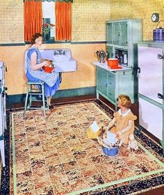 Just imagine washing dishes here! vintage kitchen - Congoleum flooring ad from McCall's magazine March 1933 Vintage Room, Vintage Ads, Vintage Decor, Vintage Antiques, Vintage Houses, Retro Room, Art Deco Kitchen, Old Kitchen, Vintage Kitchen