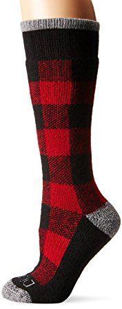 Dickies Women's Warm Wool Blend Buffalo Plaid Pattern Boot Crew Socks, Red Black, Shoe size 6 - 9/ Sock size 9 - 11