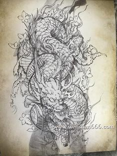 花臂纹身--龙与枫叶纹身手稿 Japanese Phoenix Tattoo, Japanese Dragon Tattoos, Japanese Tattoo Art, Japanese Tattoo Designs, Japanese Sleeve Tattoos, C Tattoo, Tattoo Drawings, Body Art Tattoos, Tattoo Life