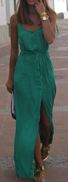 Green silk maxi dress.... More