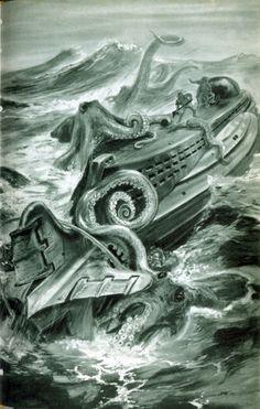 Illustrations by Kurt Röschl, Germany Fantasy Words, Sci Fi Fantasy, Jules Verne, Kraken, Octopus Art, Leagues Under The Sea, Science Fiction Books, Retro Futuristic, Ocean Creatures