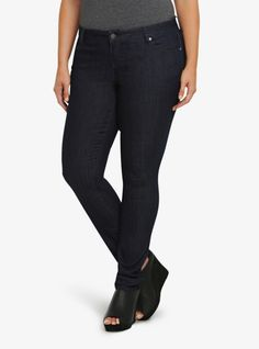 With a sleek silhouette and clean lines, this skinny is your versatile go-to jean for day or night. With tonal navy stitching, the dark rinsed denim keeps the look sharp, sexy and sophisticated.