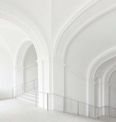 Crisp white architectural vaults: the perfect spot for a colorful fashion story.