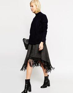 ASOS Premium Midi Skirt with Fringed Wrap