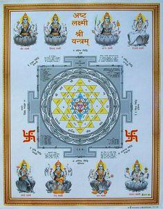 """Ashta (Eight) Laxmi Lakshmi Shree Shri Yantra - POSTER - 9""""x11"""" (#9131 BG) picclick.com"""