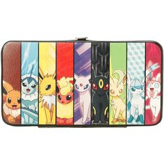 Pokemon Eevee Evolution Hinge Wallet Hot Topic ($15) ❤ liked on Polyvore featuring bags, wallets, crystal clear bags, hinge wallet, pocket bag, clear bags and pocket wallet