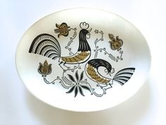 Vintage Serving Platter Roosters Good Morning Royal China Dish from NeatoKeen vintage serving good morning royal china china dish roosters ceramic dish neatokeen epsteam vestiesteam wall hanging decor atomic kitchen abstract flowers kitsch black white gold