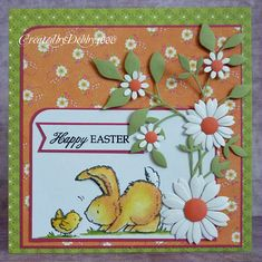 handmade Easter card from A Scrapjourney ... delightful bunny and chick image ... gorgeous die cut daisies ... beautiful card!