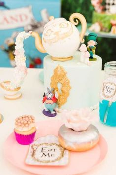 Don't miss this beautiful Alice in Wonderland birthday party! The party food is so impressive! See more party ideas and share yours at CatchMyParty.com   #catchmyparty #partyideas #aliceinwonderland #aliceinwonderlandparty #disneyparty Girls Birthday Party Themes, Tea Party Birthday, Girl Birthday, Shabby Chic Cakes, Disneyland Birthday, Alice In Wonderland Birthday, Vintage Party, Party Cakes, Party Ideas