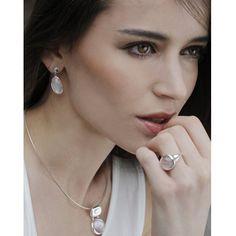 Amazon.com: SILVERAGE Sterling Silver Pink Shell Oval Drop Dangle Earrings…