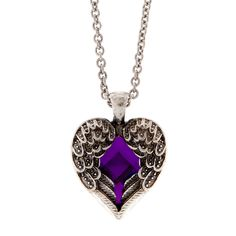 Antique Silver Angel Wings and Purple Jewel Heart Pendant Necklace | Claire's