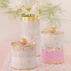 Fabulous and easy way to upcycling tin cans. An inexpensive way to spruce up any room & give it a personal touch.