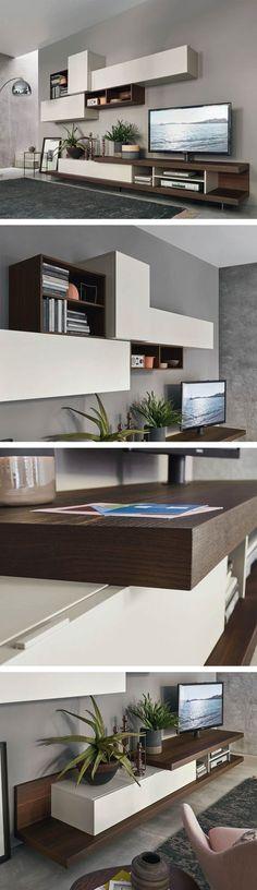 Die Livitalia Wohnwand C52 mit teils offenen und geschlossenen Elementen. #Wohnwand #Wohnzimmer #TV #Lowboard #Designmöbel #wallunit #wallsystem #livingroom #Livarea #home #wohnen #einrichten #wohntrend #minimalistisch #modern #interiordesign #interiordecorating #wohnstil #Regal